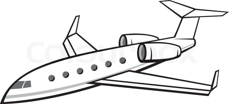 800x364 Illustration Of A Flying Business Jet Isolated On White Background