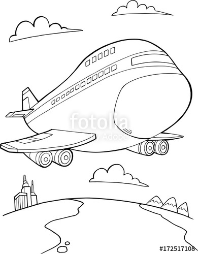 390x500 Jumbo Jet Aircraft Vector Illustration Art Stock Image