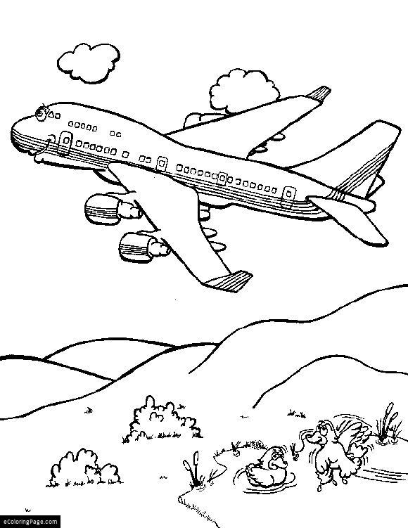 580x751 Ducks And A Boeing 747 Jumbo Jet Airplane Coloring Page Printable