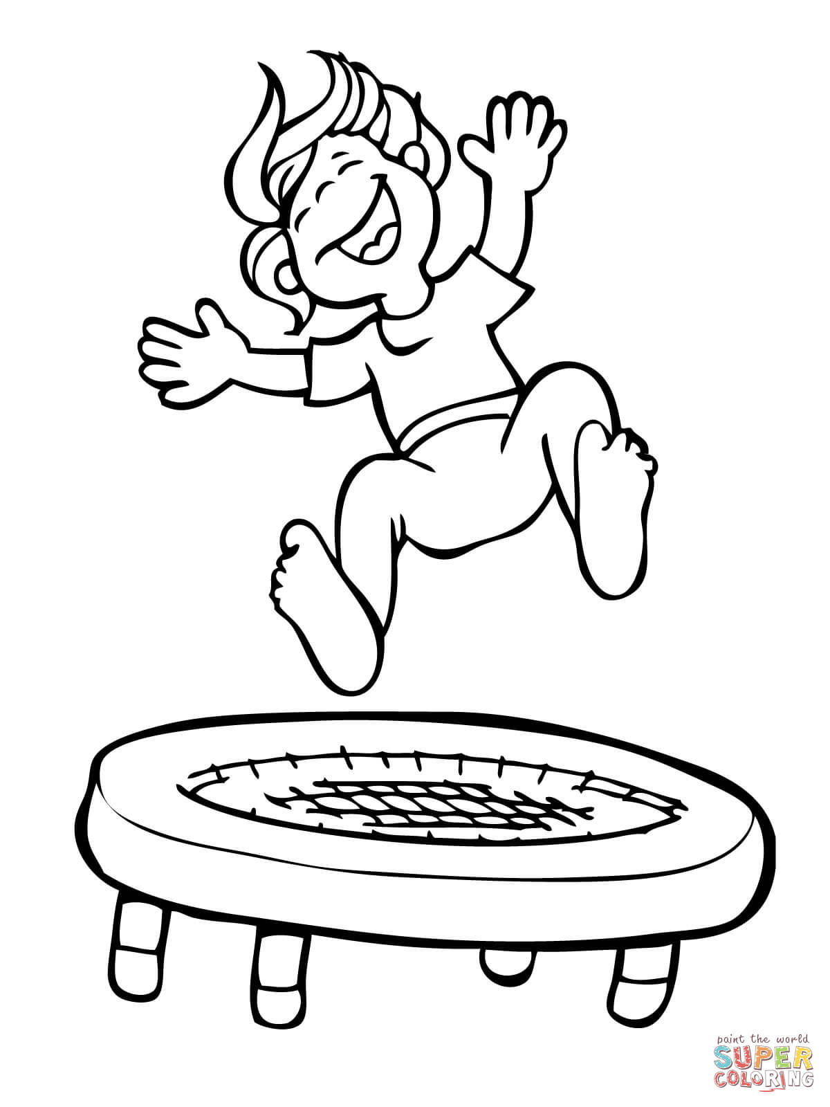 1200x1600 Kid Jumping On The Trampoline Coloring Page Free Printable