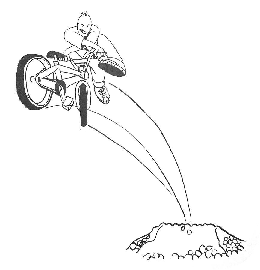 868x900 Bmx Dirt Jump Drawing By Mike Jory
