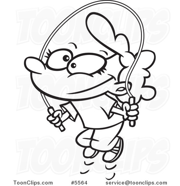 581x600 cartoon black and white line drawing of a girl jump roping