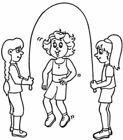 421x480 Children Jump Rope Coloring Page Free Printable Coloring Pages