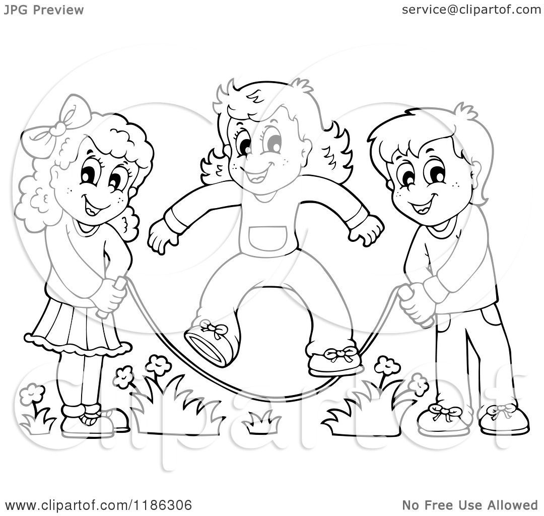 1080x1024 Cartoon Of Outlined Happy Children Playing Jump Rope