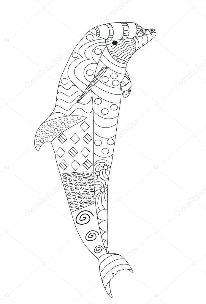 694x1023 Hand Drawn Doodle Style Jumping Dolphin Isolated On White