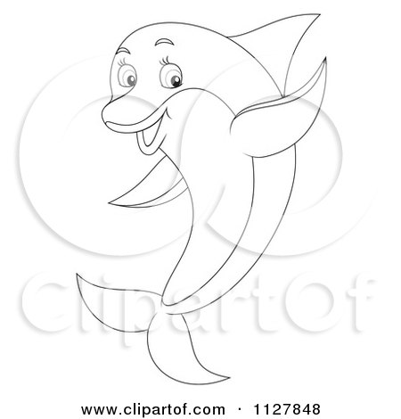 450x470 Cartoon Of A Blue Cute Dolphin Jumping And Waving