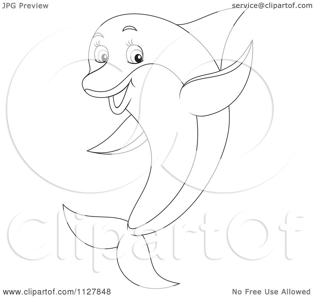 1080x1024 Cartoon Of An Outlined Cute Dolphin Jumping And Waving