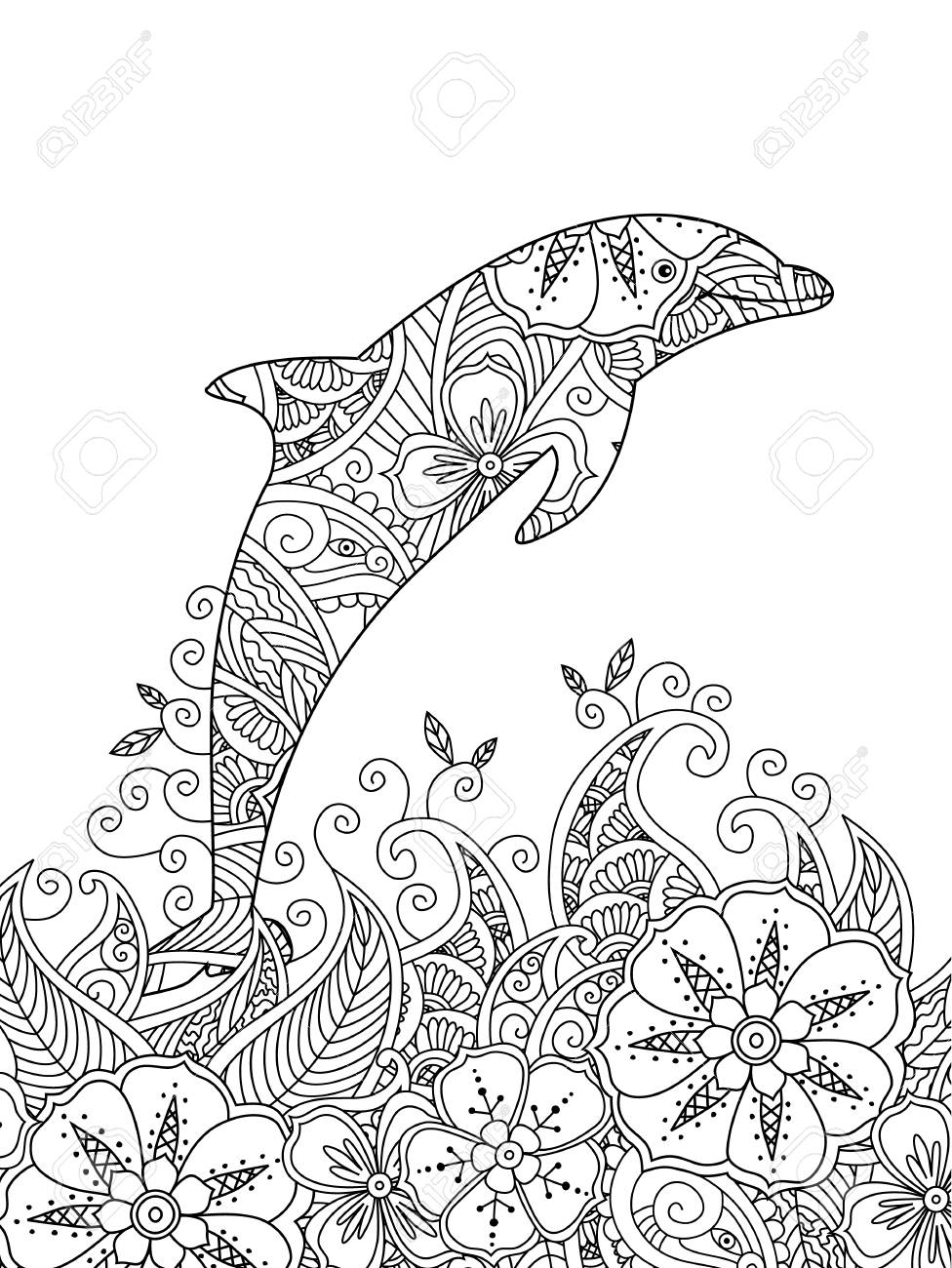 976x1300 Coloring Page With One Jumping Dolphin In The Sea. Vertical