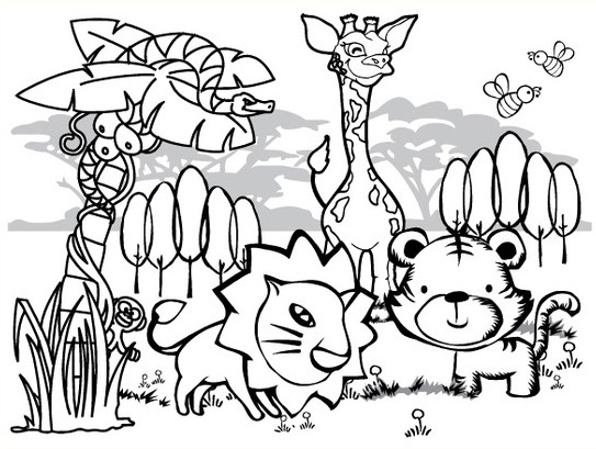 543x409 Jungle Animal Coloring Pages Ideal Jungle Animal Coloring Pages