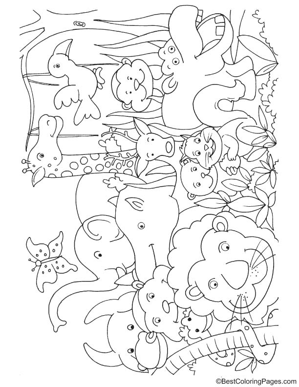 612x792 Jungle Animals For Kids Coloring Page Download Free Jungle