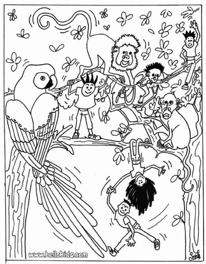 700x900 Kids With Wild Animals Coloring Pages