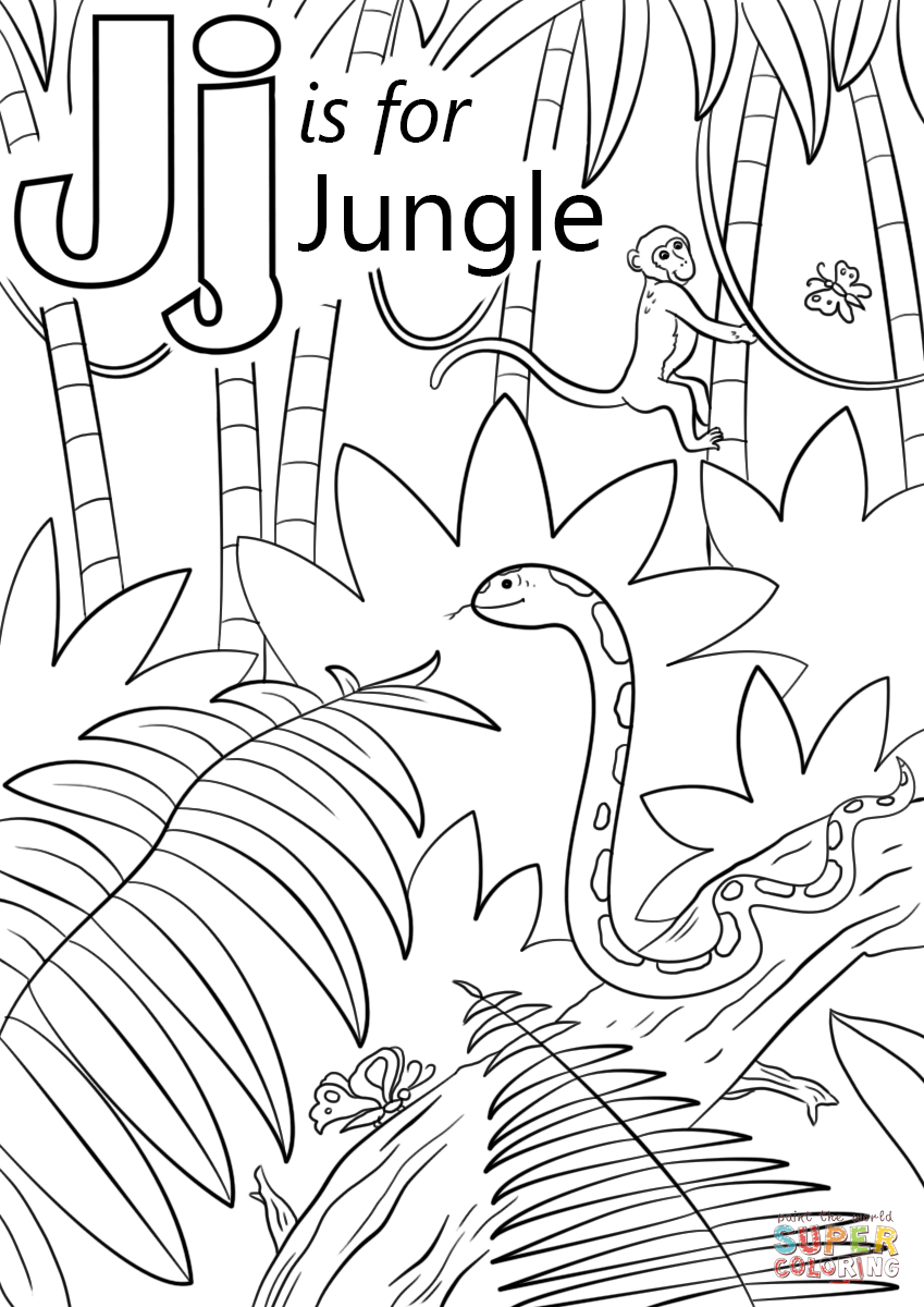 849x1200 Letter J Is For Jungle Coloring Page Free Printable Coloring Pages