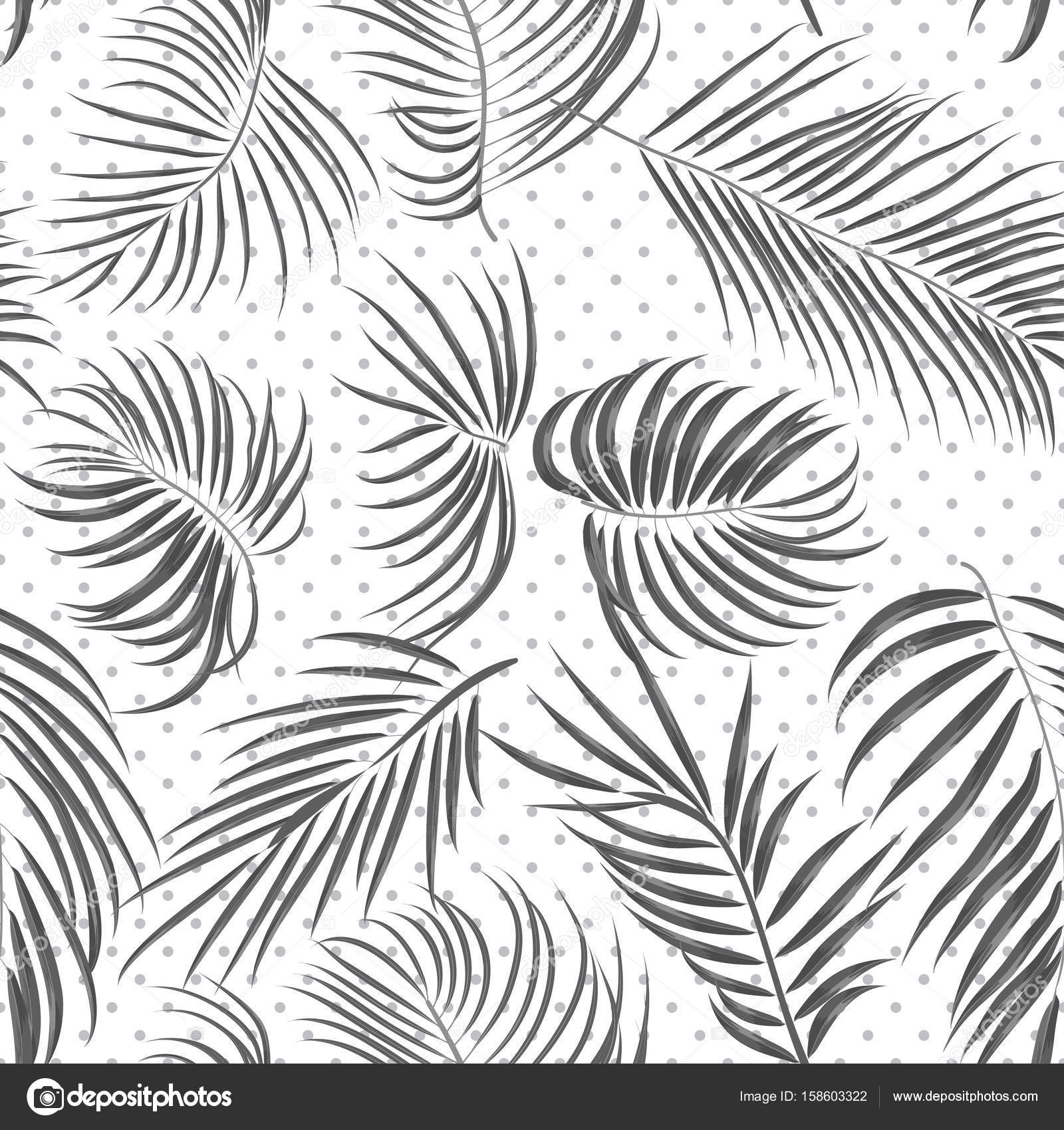 1600x1700 Seamless Hand Drawn Tropical Pattern With Areca Leaves, Jungle