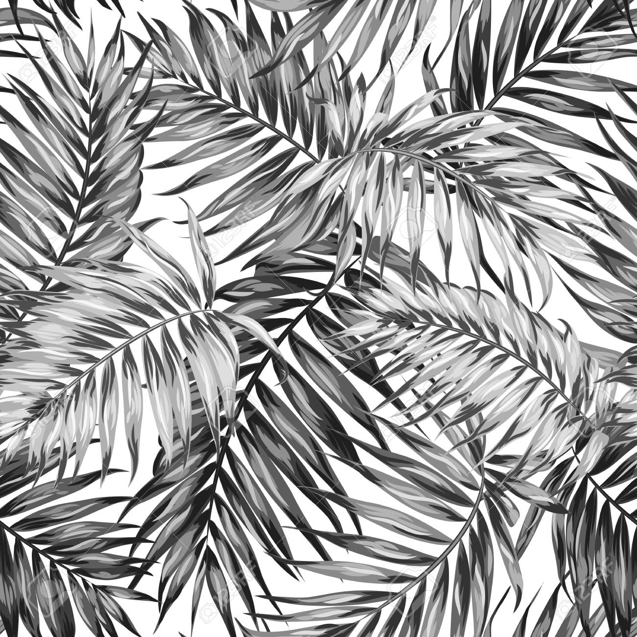 1300x1300 Seamless Hand Drawn Tropic Exotic Botanical Vector Pattern Texture