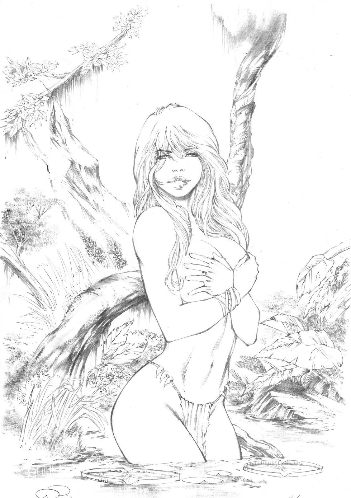 1127x1600 Jungle Girl By Ednardo Shanna Jungle Girl Pencil