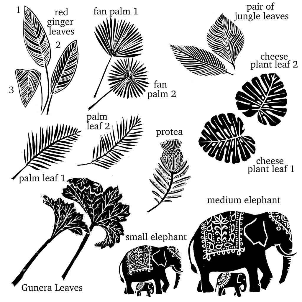 1024x1024 Elephant Rubber Stamp And Jungle Leaves By Noolibird Rubber Stamps