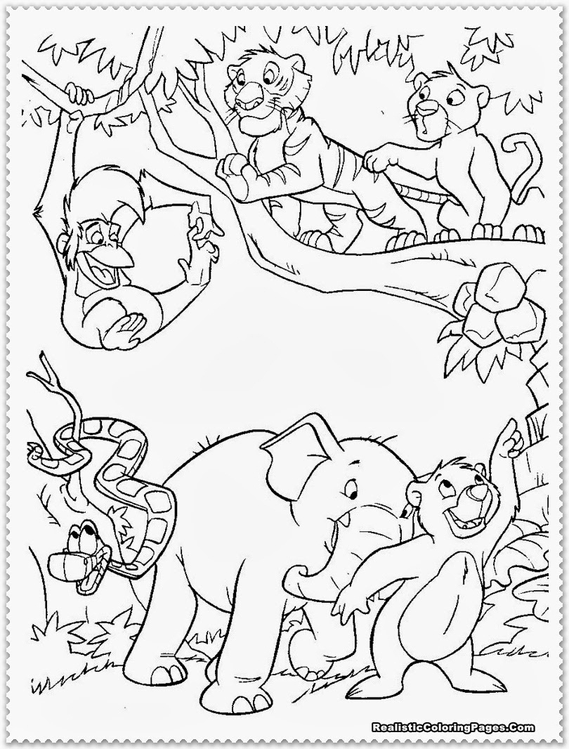 810x1066 Jungle Drawing With Wild Animals Forest Scene With Various Animals