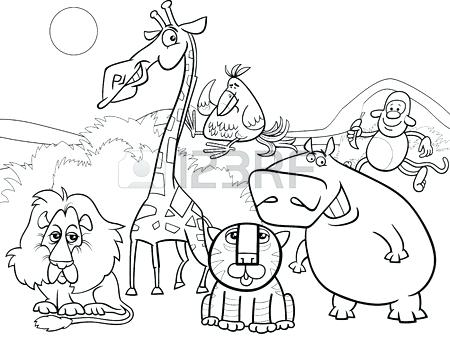 450x339 Safari Coloring Book Packed With Black And White Cartoon