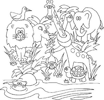 400x384 Superb Jungle Scene Coloring Pages According Luxurious Article