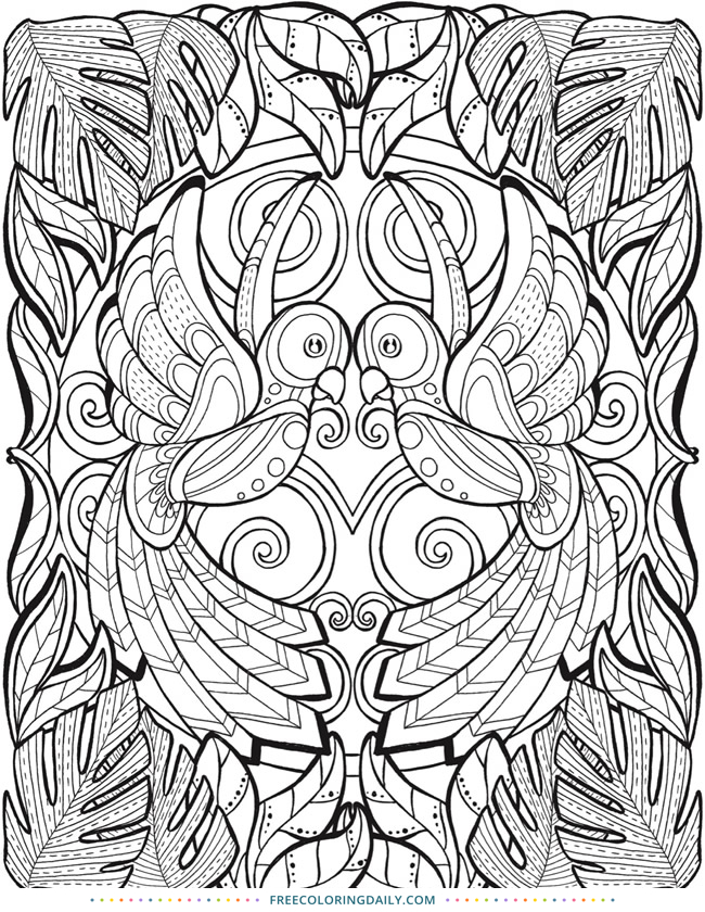 650x840 Tropical Jungle Scene Free Coloring Page Free Coloring Daily