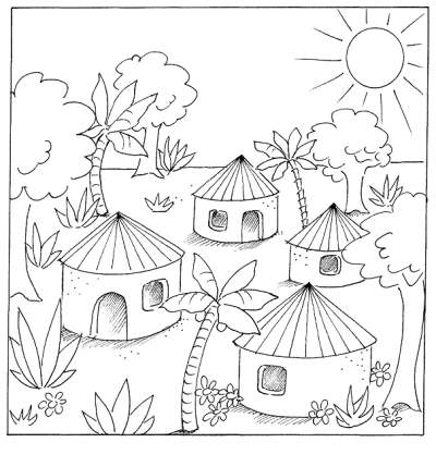 Coloring Pages Draw With Additional Print 400x429 Family Farming Meghna Unnikrishnan India Indian Village Scene