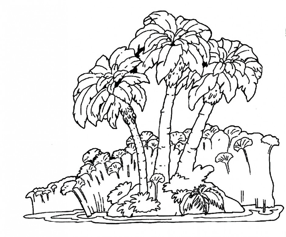 940x779 Jungle Tree Coloring Page