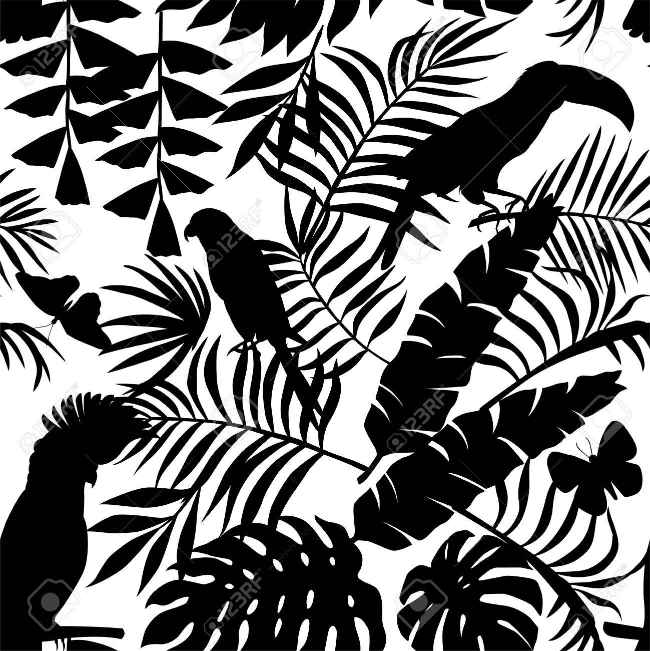 1299x1300 Exclusive Silhouette Paradise Tropic Jungle Of Plants And Birds