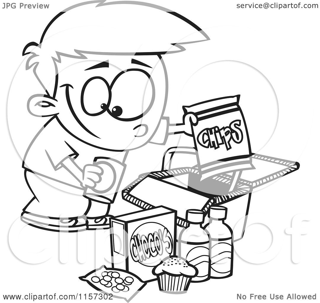 1080x1024 Cartoon Clipart Of Blacknd White Boy Packing Junk Food Into