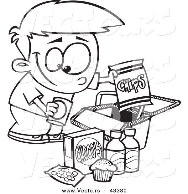 600x620 Vector Of A Happy Cartoon Boy Packing Junk Food Into A Picnic
