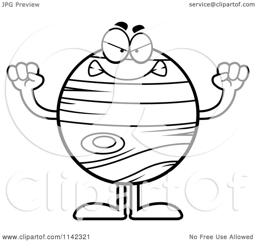 1080x1024 Cartoon Clipart Of A Black And White Mad Planet Jupiter