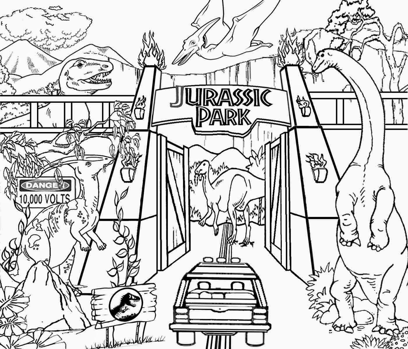 1400x1200 Detailed Printable High Resolution Free Clipart Jurassic Park
