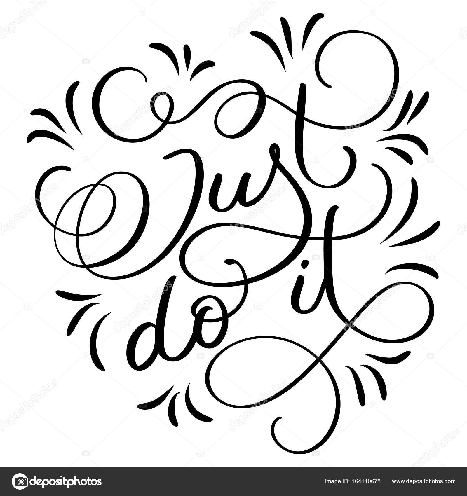1600x1700 Just Do It Text On White Background. Hand Drawn Calligraphy