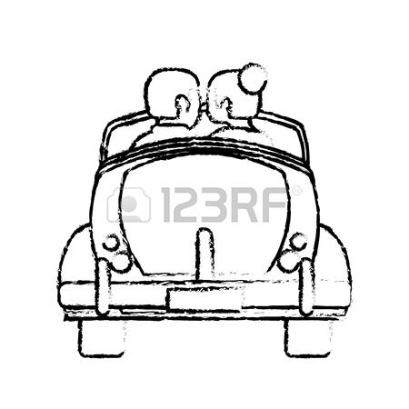 450x450 Drawing Couple Car Classic Wedding Vector Illustration Eps 10