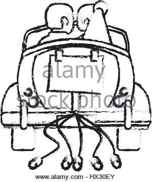 300x360 Classic Car Just Married Sketch Stock Vector Art Amp Illustration