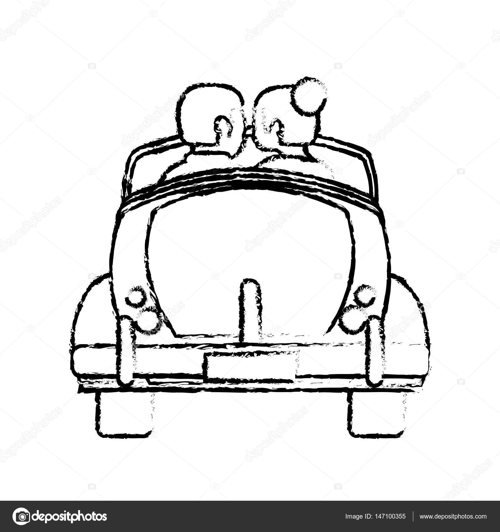 1600x1700 Couple Car Married Honeymoon Sketch Stock Vector Jemastock
