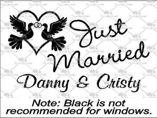 500x378 Best Prices On Just Married Wedding Ring Doves Decals And Stickers