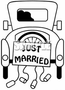 217x300 Clipart Picture Of An Old Fashioned Car With Just Married And Cans