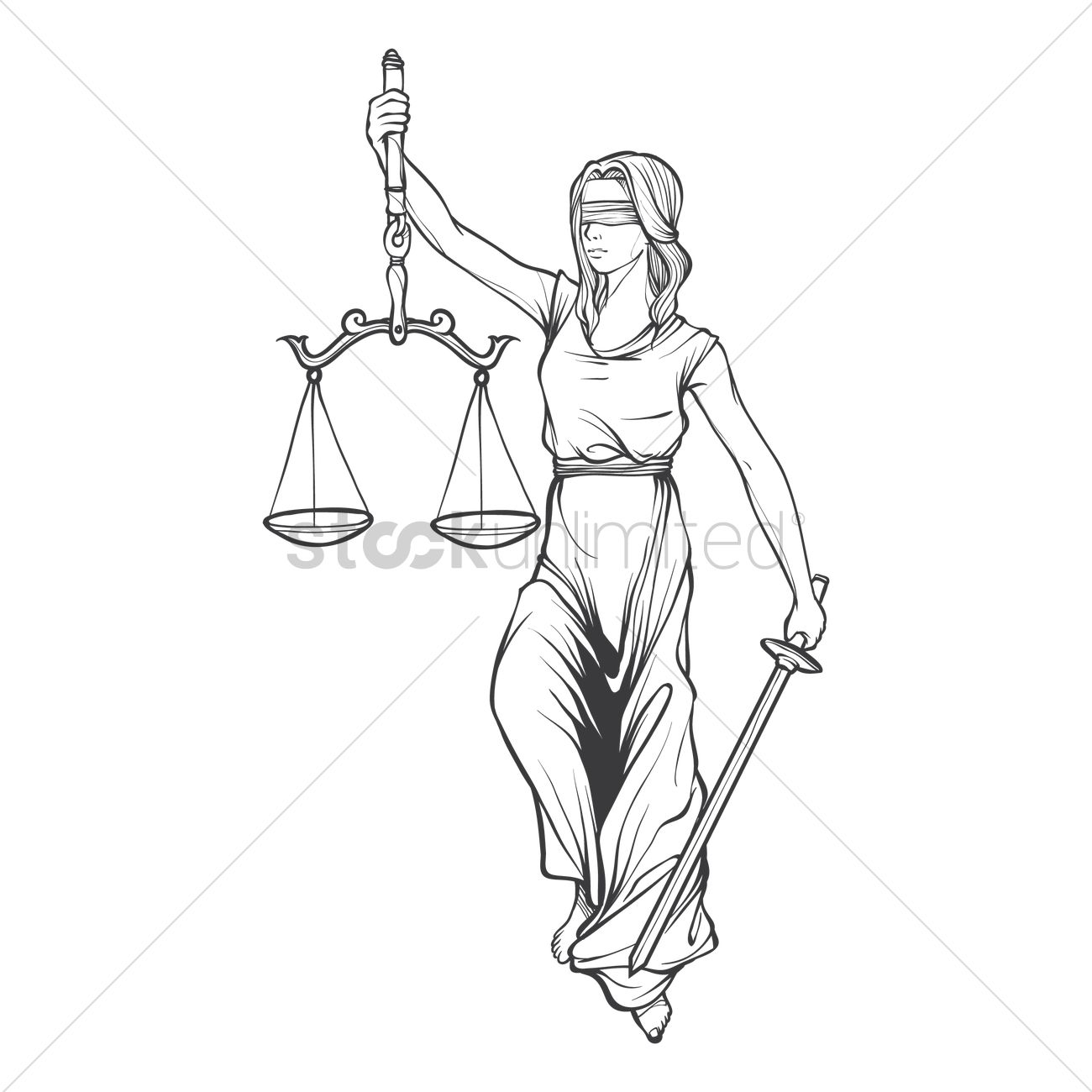 1300x1300 Lady Justice Statue Vector Image
