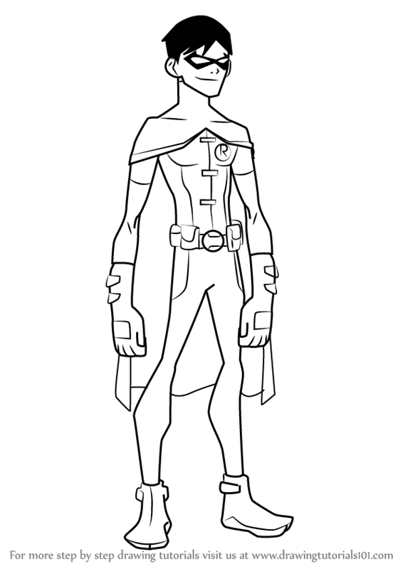 566x800 Learn How To Draw Robin From Young Justice (Young Justice) Step By