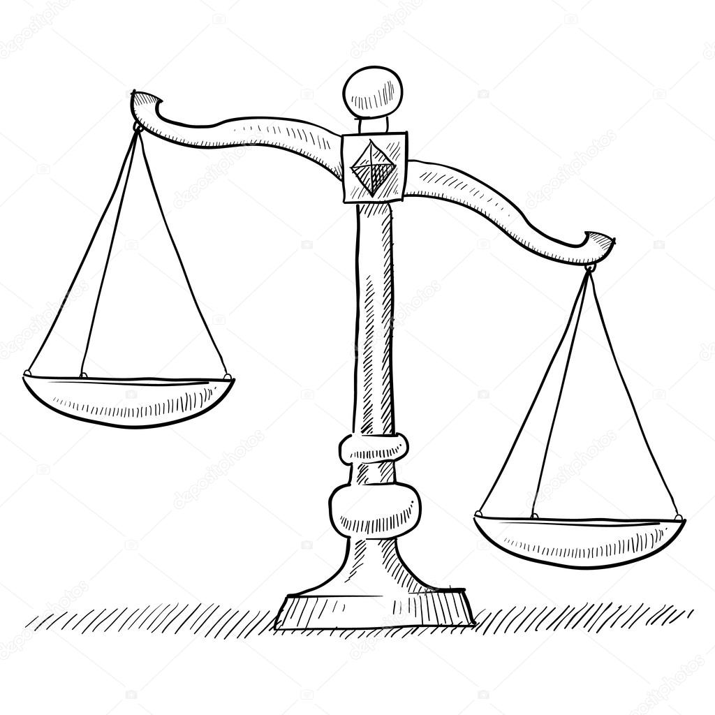 1024x1024 Unbalanced Scales Of Justice Sketch Stock Vector Lhfgraphics