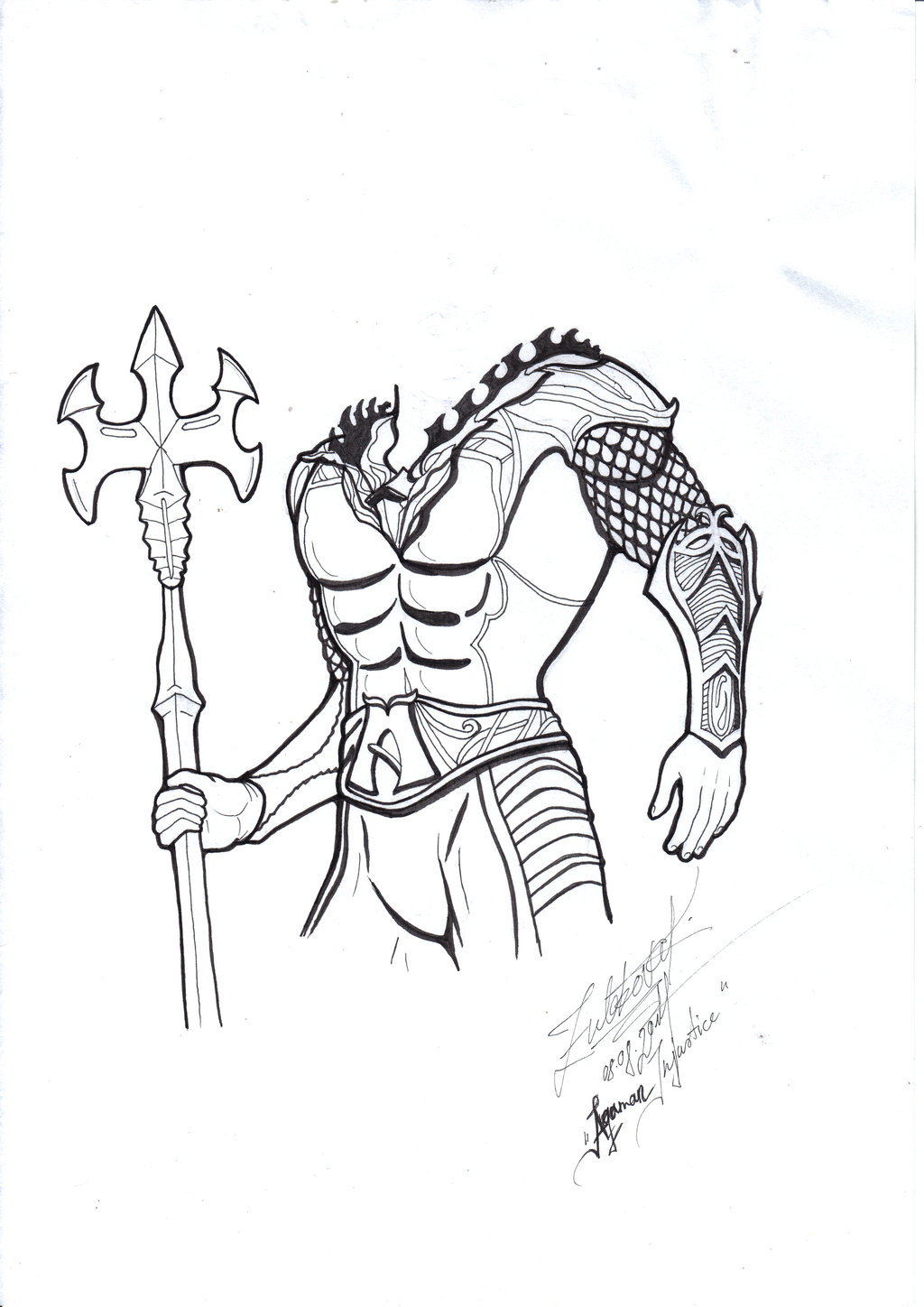 1024x1448 Tried To Draw Aquaman From Justice Without A Head By Krissidaveide