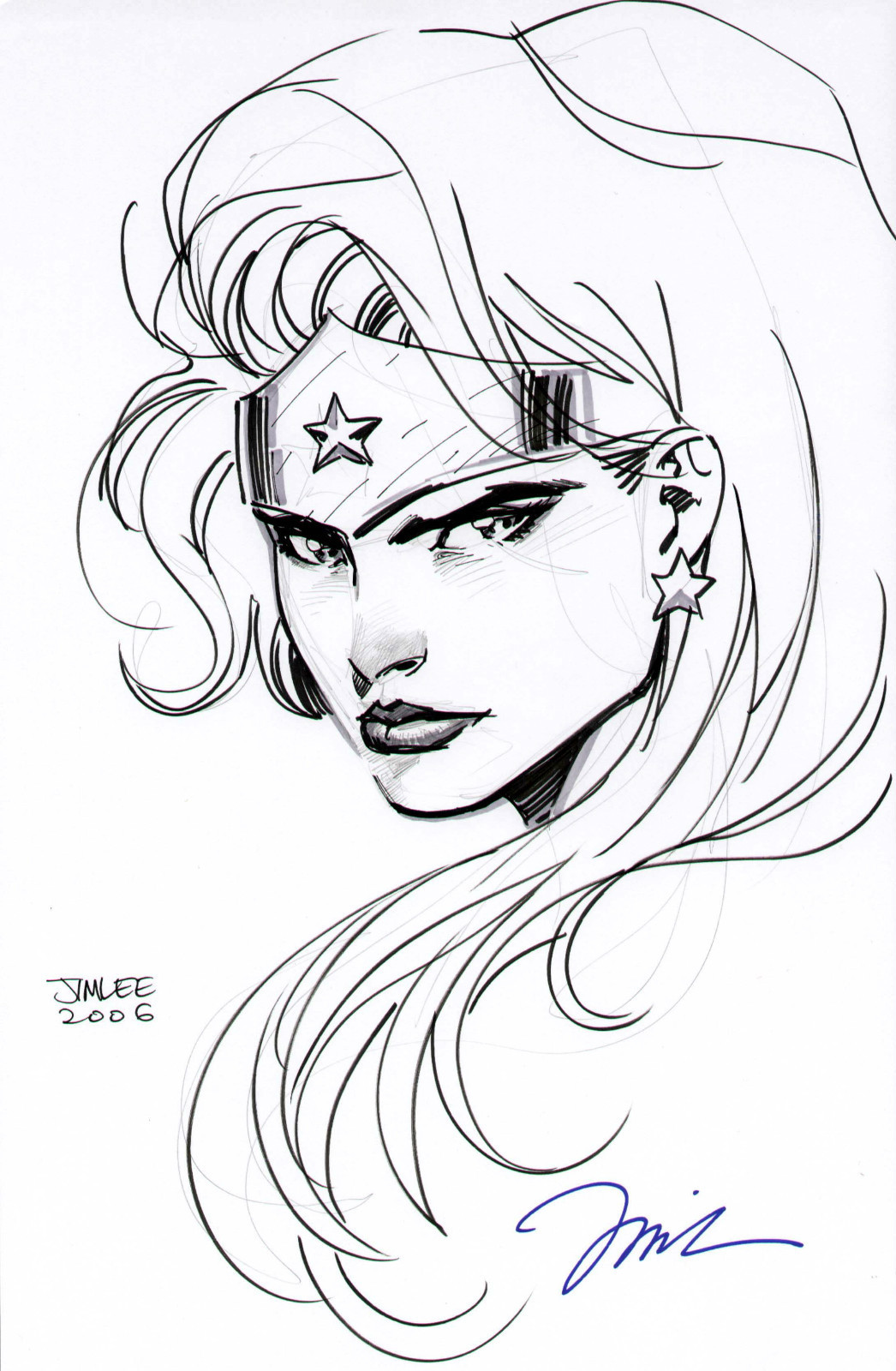 1046x1600 Jim Lee Wonder Woman Head Drawing Justice League Dc Comics Sexy