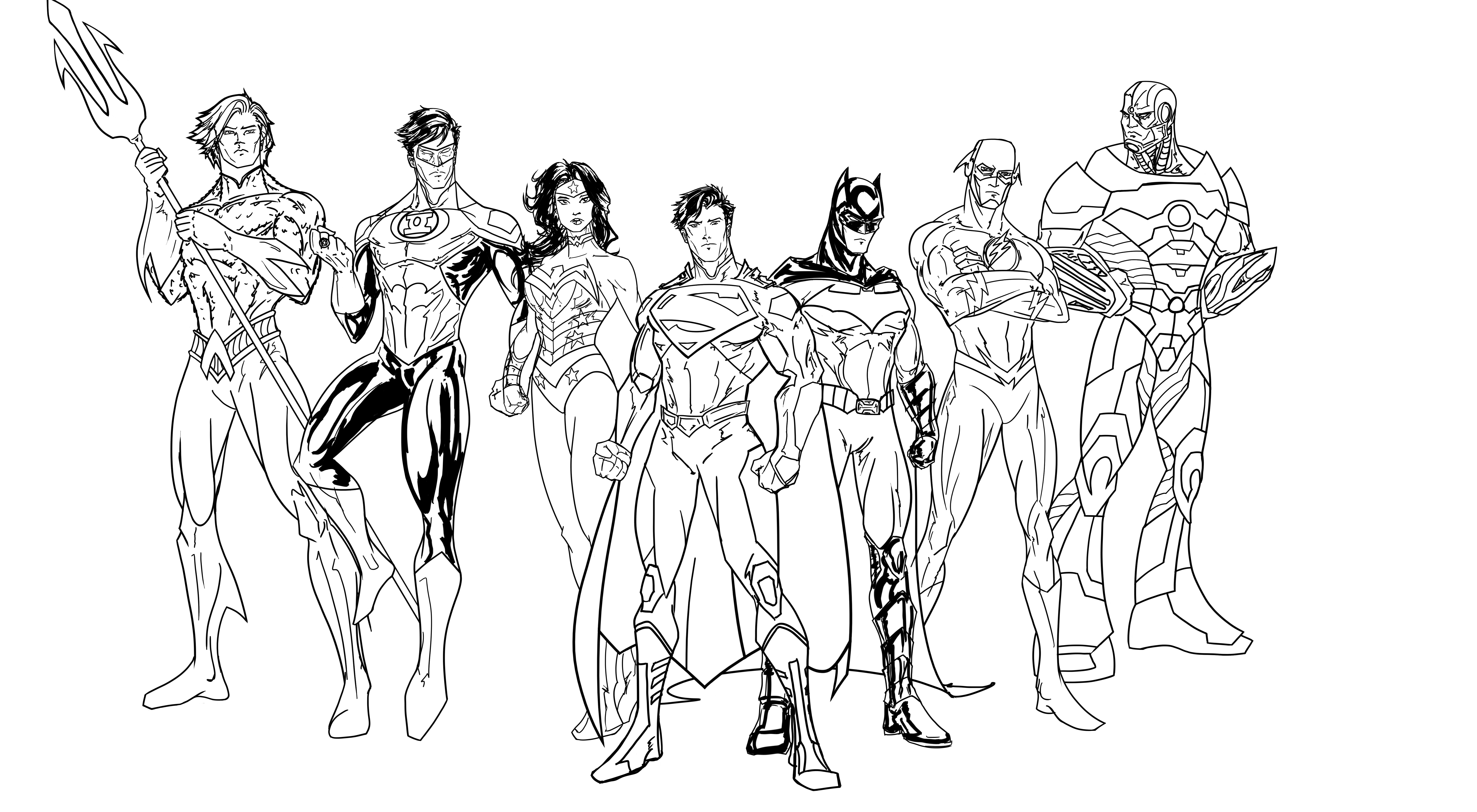 7636x4200 Justice League Coloring Pages