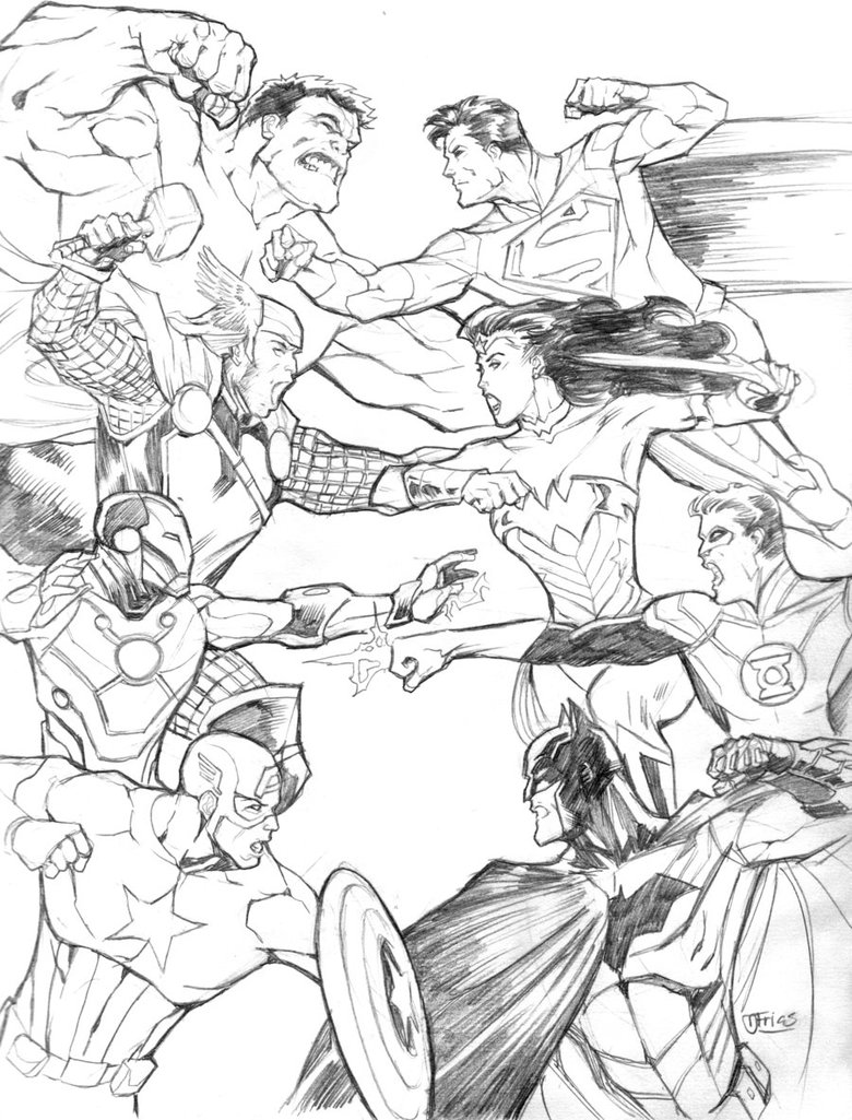780x1025 Avengers Vs. Justice League By Guinnessyde