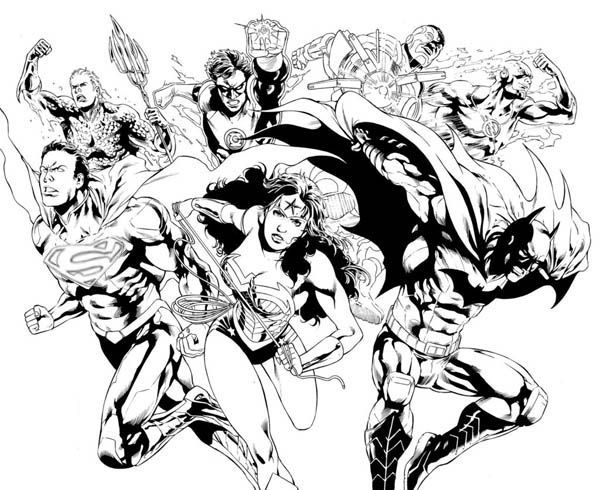600x490 Justice League Pencil Drawing Coloring Page