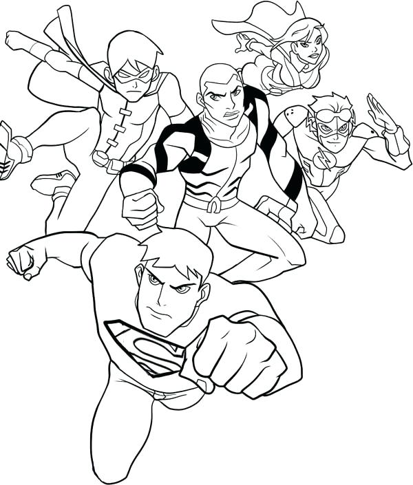 600x705 Young Justice Coloring Pages How To Draw Young Justice League
