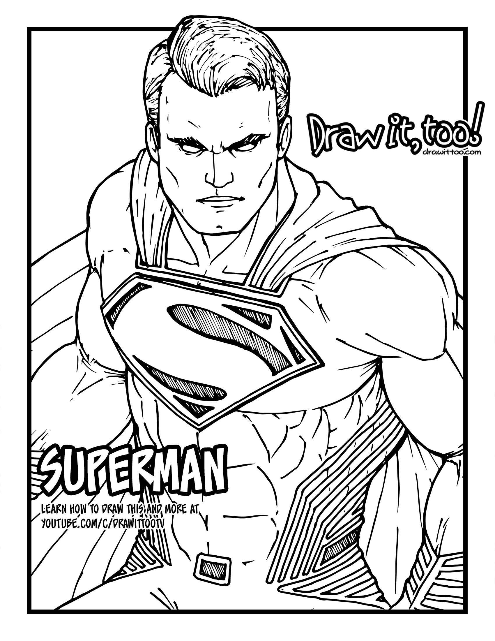 1700x2200 How To Draw Superman (Justice League) Drawing Tutorial