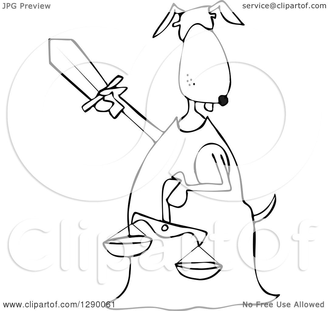 1080x1024 Clipart Of A Blindfolded Black And White Lady Justice Dog Holding