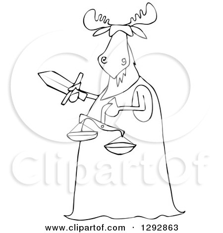 450x470 Clipart Of A Blindfolded Lady Justice Dog Holding A Sword
