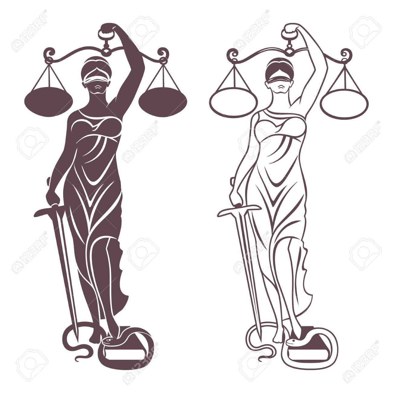 1300x1300 Lady Justice Themis Vector Illustration Silhouette Of Themis